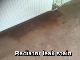 An horrendous radiator leak stain in Dedham